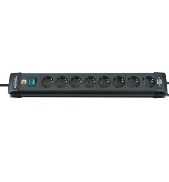 Brennenstuhl, Regleta con interruptor, negro, de 8 tomas, 3m (BN1018) 2