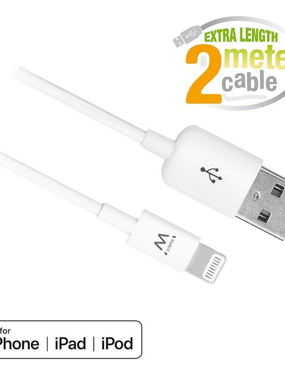 Ewent Cable de carga y sincronización de USB a Apple Lightning, certificación MFI, 2 metros. (EW9902) 2